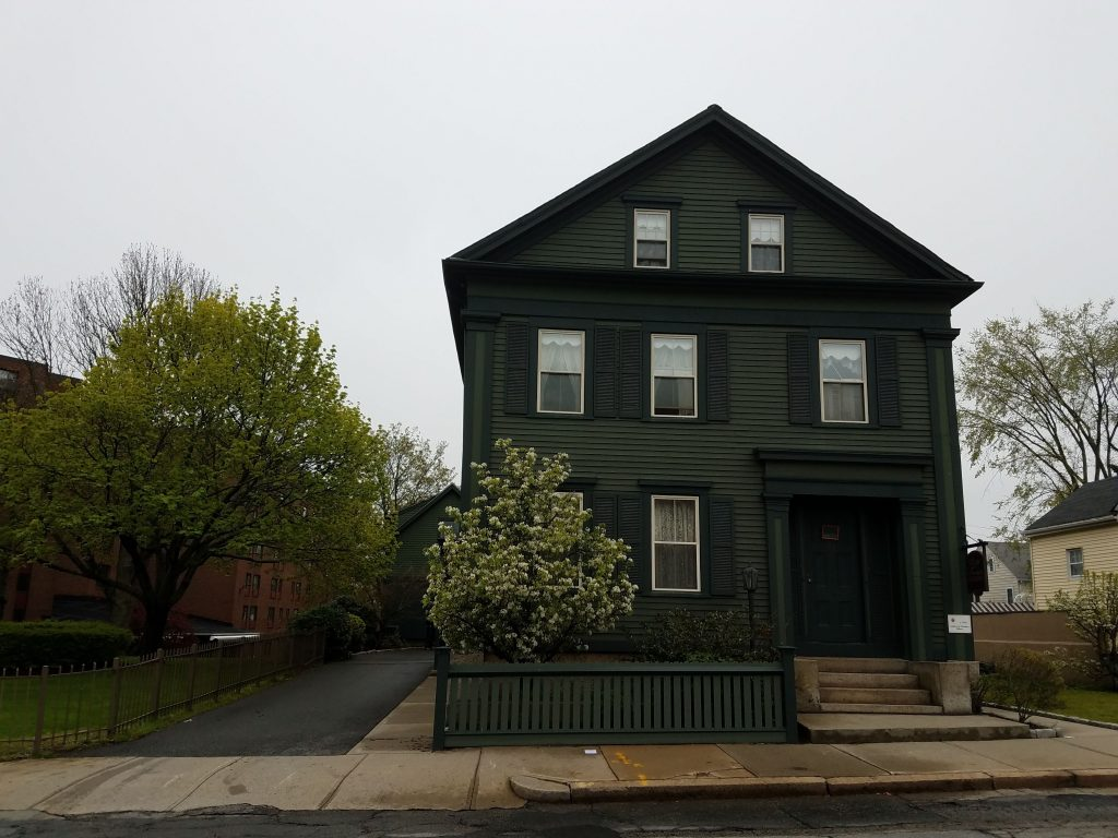 Exterior front of the haunted LIzzie Borden house in Massachusettes